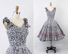 vintage 1950s 50s dress // Black and White Novelty Print Dress with Large Shoulder Bows and Red Trim