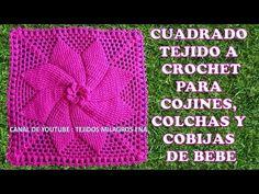 Cuadrado tejido a crochet # 2 para cojines, colchas y cobijas para bebe - YouTube