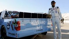 Darrell Wallace Jr. with Wendell Scott-themed truck