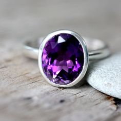 Grape Amethyst Ring, Oval Amethyst gemstone Ring in Recycled Sterling Silver Size 8.  via Etsy.