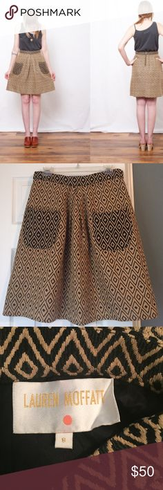 Anthropologie Lauren Moffatt skirt w/ pockets sz 8 Beautiful A-line geometric skirt with pockets from Lauren Moffatt's line for Anthropologie size 8. Gorgeous gold zipper in back and pleat in the front between pockets. I am 5'6 and this skirt falls mid-knee on me (as opposed to over the knee as shown on model) skirt is fully lined. Perfect for this upcoming fall season! Such a unique piece Anthropologie Skirts A-Line or Full