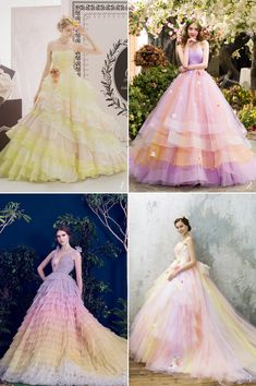 24 Wedding Gowns Featuring Romantic Spring Color Combos! Pastel Wedding Dresses, Bridesmaid Dresses, Prom Dresses, Pretty Outfits, Pretty Dresses, Beautiful Outfits, Bridal Gowns, Wedding Gowns, Special Dresses