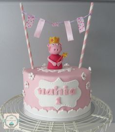 "Tarta ""Princes Pepa Pig"" Fondant Cakes, Cupcake Cakes, Tortas Peppa Pig, Peppa Pig Birthday Cake, Second Birthday Ideas, Ballerina Cakes, Pig Party, New Cake, Party Desserts"