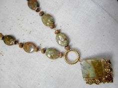 """Vintage Fossil Bead Natural Stone Varigated Agate GreenNecklace 18.5"""" Long by GlancingBack on Etsy"""