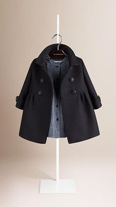 Navy Virgin Wool Cashmere Blend Military Coat - Image 1