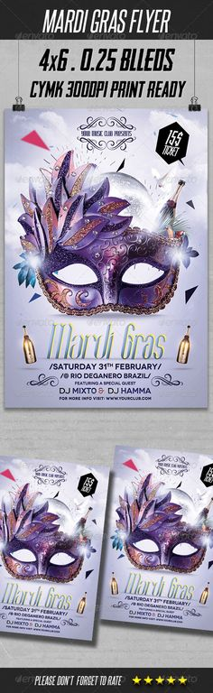 Mardi Gras Flyer Template — Photoshop PSD #psd #rio • Available here → https://graphicriver.net/item/mardi-gras-flyer-template/6502001?ref=pxcr
