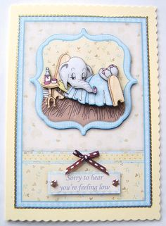 FEELING LOW Get Well topper and decoupage on Craftsuprint designed by Janet Briggs - made by Davina Rundle