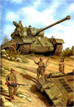 Tank plus soldaten om te tekenen als gene die het vrede beschieten