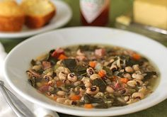 Black-Eyed Pea and Collard Green Soup - minues the ham
