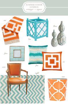 Orange and Aqua Summer Decor Inspiration @Sarah Chintomby Chintomby Chintomby Nasafi Grayce