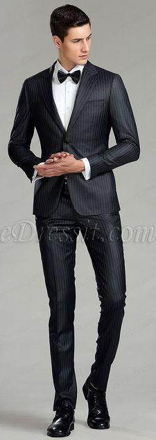 Black Vertical Stripes Custom Men Suits Business Suits #eDressit