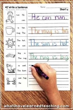 These Short U Phonics Worksheets give students practice reading and writing short u CVC words by word family. On this worksheet, students write the sentence given the words in the word bank. Phonics Worksheets, Reading Worksheets, School Worksheets, Phonics Activities, Phonics Centers, 1st Grade Worksheets, Learning Activities, Writing Sentences Worksheets, Word Family Activities