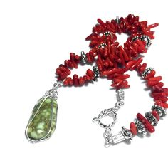 This gorgeous necklace and red features a authentic, Nevada variscite nugget that has been wire wrapped in It hangs from a hand strung coral red colored bamboo and silver plated lentil bead necklace. Long Silver Necklace, Red Necklace, Gemstone Necklace, Necklace Lengths, Beaded Necklace, Pendant Necklace, Steampunk Necklace, Red Coral, Turquoise