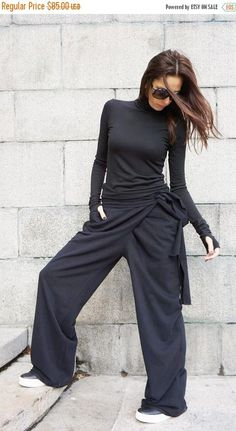 SALE Loose Cotton  Black Pants / Wide Leg Pants Autumn Extravagant Collection HandMade by Aakasha A05557