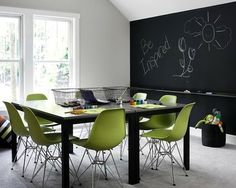 large room for homeschool with natural light and chalkboard wall