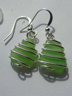 Vibrant lime green sea glass earrings.. $10.00, via Etsy.