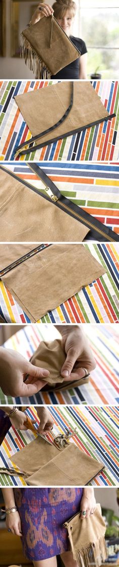 DIY Suede Purse. looks easy... we'll see if clumsy fingers can manage lol