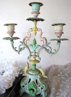 Shabby Chic Decor ●  Candlestick