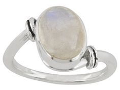 Artisan Gem Collection Of India, Oval Cabochon Rainbow Moonstone Sterling Silver Ring