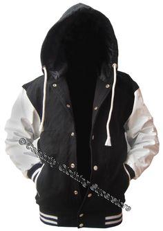 black wool/ white leather