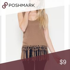 "🎉TAN FLAWLESS FRINGE TOP This flawless fringe top is a great choice for all seasons. Its light yet not thin and trendy. Match it with your favorite bottoms and define ""cute "" for the day!   ​*Only available in black and new taupe.   *Sizes available in small, medium and large.  *95% Rayon *5% Spandex *Made in China. ​*100% Cute Tops Tank Tops"