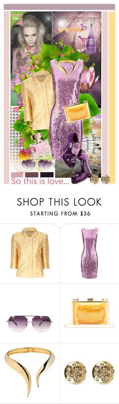 """""""So this is love ........"""" by anne-irene ❤ liked on Polyvore featuring Dsquared2, Ermanno Scervino, John Galliano, Versace, Christian Lacroix, Boohoo, Giuseppe Zanotti, Karen Millen and metallics"""