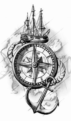 39 ideas for tattoo compass drawing roses Tatto Drawings – Fashion Tattoos Anker Tattoo Design, Clock Tattoo Design, Compass Tattoo Design, Sketch Tattoo Design, Maori Tattoo Designs, Tattoo Sketches, Tattoo Drawings, Body Art Tattoos, Sleeve Tattoos