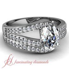 60 Ct Oval Shaped Splendid Diamond Engagement Wedding Rings Set 14k White Gold