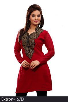 Red 60 grams Chiffon Georgette Embroidered Kurti - Chiffon Kurtis / Tunics Manufacturer & Exporter   Kurtisindia