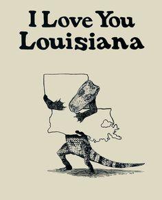 I Love You Louisiana Screenprint #louisiana #poster