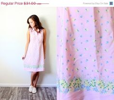 20% OFF HALLOWEEN SALE Vintage pink pastel floral dress