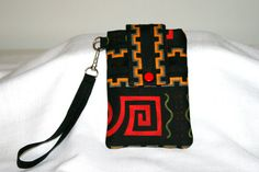 Black Gold Geo Cell Phone Bag Wristlet in brilliant by MeeMawsBags