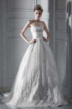 Ball Gown Sweetheart Sleeveless Crystal Floor-length Wedding Dress