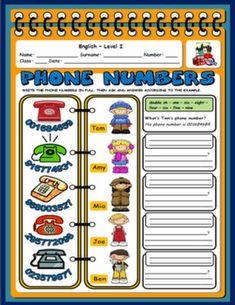 PHONE NUMBERS WORKSHEET#