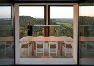 diningroom of pezo von ellrichshausen's solo pezo, solo house in spain on designboom