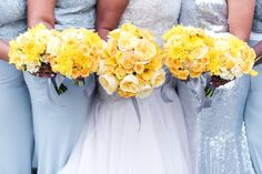 All yellow bride's bouquet and bridesmaids bouquet. Floral by Southern Event Planners Photo by Bride Bouquets, Bridesmaid Bouquet, Bridesmaids, Event Planners, Southern, Fancy, Bridal, Yellow, Celebrities