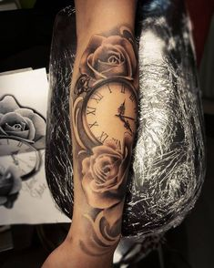 Pocket watch and roses done today. Thanks Michelle! #roses #blackandgrey…