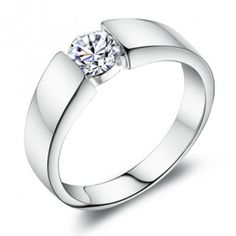 Mens Sterling Silver Cubic Zirconia Ring 0.6 Carat