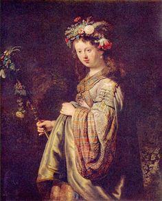レンブラント・ファン・レイン 「春の女神フローラに扮したサスキア」