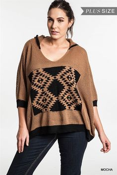 Printed Cable Knit Sweater With Hood - Sizes: XL = 11/12, 1XL = 13/14, 2XL…