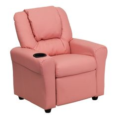 Flash Furniture Contemporary Pink Vinyl Kids Recliner with Cup Holder and Headrest [DG-ULT-KID-PINK-GG]