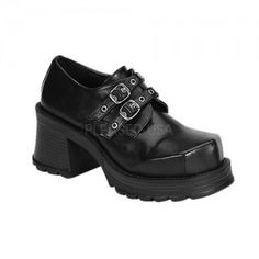 Trumph Gothic Womans Loafer - New at GothicPlus.com Price: $54.95  They have a 2 3/4 inch heel and 3/4 inch platform with buckled front straps.  All man made materials with a padded insole and non-slid sole.  #gothic #fashion #steampunk