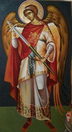Byzantine Icons, Byzantine Art, Religious Icons, Religious Art, Angel Drawing, Religious Paintings, Catholic Art, Art Icon, Guardian Angels