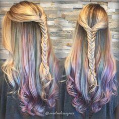 UNDERLIGHTS is the new HOT hair trend! underlights hair Underlights and Hidden Rainbows! Underlights Hair, Hair Addiction, Long Wavy Hair, Long Curly, Thick Hair, Unicorn Hair, Mermaid Hair, Blonde Color, Ombre Colour