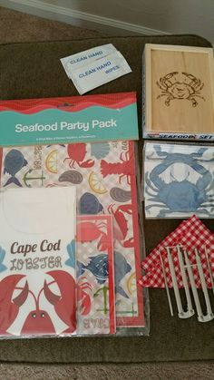 SEAFOOD PARTY PACK Lobster Crab Crackers, Picks, Bibs, Napkins, Placemats NIP #Nantucket
