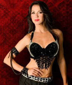 f924f62f92 Belly Dancers Black and Silver Beaded Heart Top With Beaded Fringes