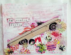 I'm coming Justin 8x10 mixed media collage on canvas Art by E. McD  do not remove these words from this pin, to commission your own political or snarky girl, contact me through my etsy shop!