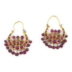 A Pair of Ruby Earrings, South India 19th Century