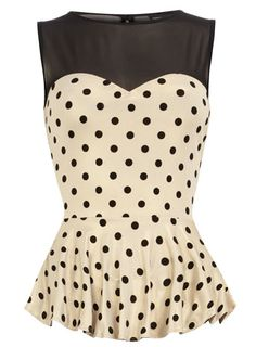 Peplum, sweetheart neckline, and polka dots. A beautiful combo! New top from Dorothy Perkins