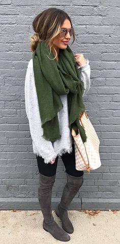 how to style a scarf : sweater + bag + black skinnies + over knee boots #fashionfall2017